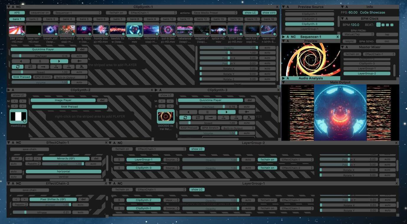 CoGe VJ Software Interface