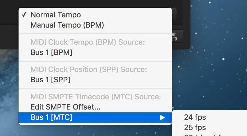 MIDI Clock, SPP and MTC source